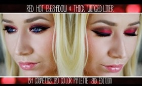 Red Hot & Brown Eyeshadow with Thick Winged Liner Using BH Cosmetics' 120 Color Palette