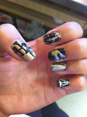 Harry Potter nails i did for the deathly hallows pt 2 premier.