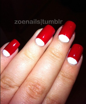 Red and white half-moons