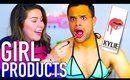 Guys try girl products! Kylie Jenner lip kit, wax + more!