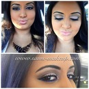 brown smoky eye with blue lower lash liner