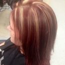 red hair and blonde highlights