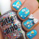 Cotton Candy Bubble Bath Glitter Nails