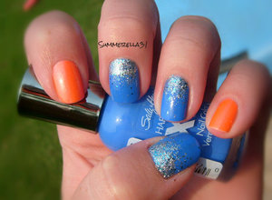 Sally Hansen Xtreme Wear Pacific Blue, China Glaze Lorelei's Tiara and Color Club Totaly Outrageous