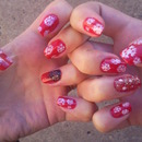 Snowflakes red and white nails