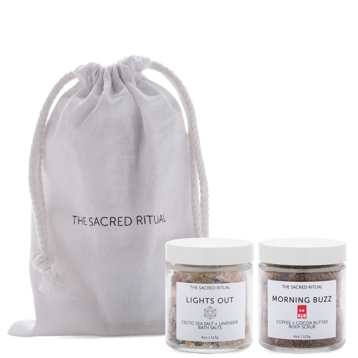 The Sacred Ritual Morning Buzz + Lights Out Scrub & Deluxe Set product smear.