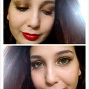 """"""" Sparkling Evening """"  Copper  sparkle  and red lip"""