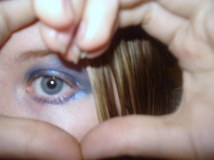A closeup of the bold makeup look