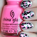 Neon Pink, Silver & Black Leopard Nails