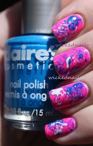Cotton Candy Splatter nails done using tiny coffee stir straws