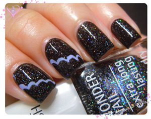 IsaDora Bella Vita cloud/ scallop over Black Galaxy.  More on http://www.alacqueredaffair.com/IsaDora-Black-Galaxy-Bella-Vita-29990644