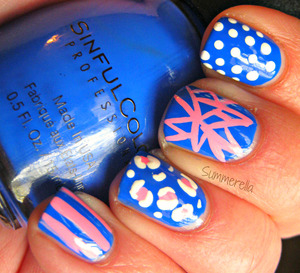Sinful Colors Endless Blue and white and pink acrylic paint http://summerella31.blogspot.com/2013/03/blue-mix-n-match.html