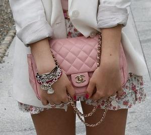 Chanel bag and vintage skirt