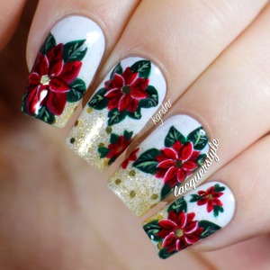 I created these last week, more info and photos on my blog here: http://www.lacquerstyle.com/2013/12/festive-poinsettia-nails.html