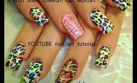 neon cheetah print on white nails with ALIEN CAT WOMAN: robin moses nail art tutorial