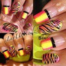 French Tips With A Neon Gradient & Zebra Print