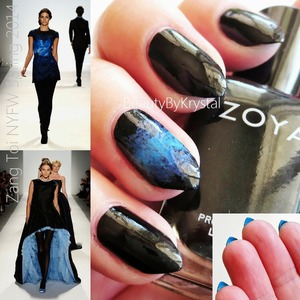 For products used and technique description, check out my blog: http://www.beautybykrystal.com/2013/09/nyfw-inspired-nails-zang-toi-spring.html