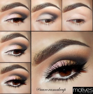 Instagram @auroramakeup, the steps are...(MOTIVES cosmetics products) The steps are:  ENGLISH 1.Apply Eye Shadow Base on top and Lower Eyelids 2.Highlight brow bone with a white matte Pressed Eye Shadow in LIQUID, next blend on the crease a soft brown matte Pressed Eye Shadow in CAPPUCCINO, mark the socket with a black matte Pressed Eye Shadow in ONIX 3. Highlight the inner corner with a white pearlized Pressed Eye Shadow in CREME FRESH , next place pink pearlized Pressed Eye Shadow in PINK DIAMOND since the inner corner until center of the mobile eyelid and do the same in the last free space of the mobile eyelid applying a golden pearlized Pressed Eye Shadow in PINK GOLD . Line top eyelashes with Gel Eyeliner in LITTLE BLACK DRESS making a wing at the end. 4.Line waterline with a Khol Eyeliner in ANGEL, line lower lashes with a dark brow Khol Eyeliner in COFFE and blend it out with Pressed Eye Shadow in CAPPUCCINO 5. Add false lashes, I used Pixie Luxe by @houseoflashes and apply mascara LUSTRAFY HIGH DEFINITION in ONIX.  SPANISH 1.Aplica la Prebase de sombtas en ambos parpados del ojo 2.Ilumina el hueso de ceja con una sombra de ojos blanca mate como LIQUID , despues difumina en el pliegue una sombra cafe claro mate como CAPPUCCINO, marca el pliegue del ojo con una sombra negra mate como ONIX. 3. Ilumina el lagrimal con una sombra blanca brillosa como CREME FRESH, despues aplica una sombra rosa brillosa como PINK DIAMOND desde el lagrimal hasta el centro del parpado movil y realiza lo mismo en la ultima parte del parpado con una sombra dorada brillosa como PINK GOLD . Delinea las pestañas superiores con gel delineador negro como LITTLE BLACK DRESS haciendo un ala al final. 4.Delinea la linea del agua con un lapiz delineador blanco como ANGEL, tambien delinea las pestañas inferiores con un lapiz delineador cafe oscuro como COFFE , termina sellandolo y difuminandolo con una sombra como CAPPUCCINO 5.Agrega pestañas postizas , yo use las Pixie Luxe de  @houseoflashes y aplica mascara negra de pestañas como LUSTRAFY HIGH DEFINITION en color ONIX.