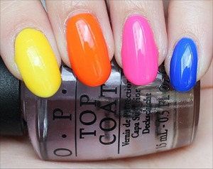 See my in-depth review and more swatches here: http://www.swatchandlearn.com/opi-neon-revolution-mini-set-swatches-review-pictures/ From index to pinkie (all OPI): Don't Say It - Yellow It!, The Time Is Pow!, Pink Outside the Box & Blue It Out of Proportion