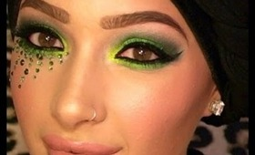 Sultry Green Smokey Eye Makeup With Real Swarovski Crystals