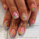 Flower sticker pastel nails