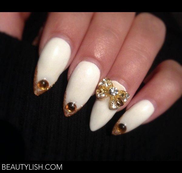 White and gold prom nails | Patricia E.'s Photo | Beautylish