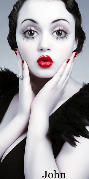 halloween look, red glossy lip, betty boop, red nails, pale skin, black hair
