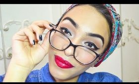 Pin-up makeup for glasses wearers [red lip & winged eyeliner tutorial] | Reem
