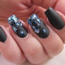 Matte Black Drippy Nails
