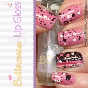 Mani using OPI's Sparrow Me the Drama and Laquerlicious' Pink Granite.  For more info:http://www.buttercreamandlipgloss.com/2013/03/pink-granite-by-laquerlicious.html