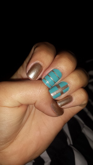 Gold base coat with a tiffany blue over...