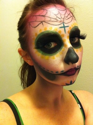 Pretty sure this will be my final calavera look. Digging the web and cross up top :)