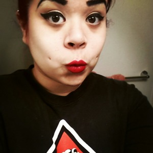 winged liner and classic red lip :)