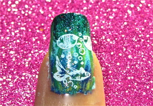 underwater marine nail art to watch video tutorial for this look, SUBSCRIBE free to my youtube nailart channel: www.youtube.com/nailartbynidhi