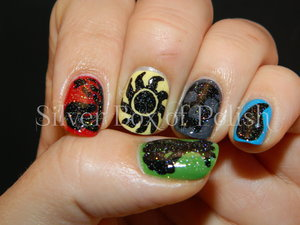 Nail art inspired by the five elements of Magic: The Gathering.
