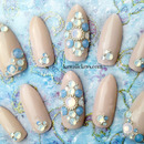 Nude Swarovski Bridal nails