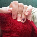 French manicure with a diamond.