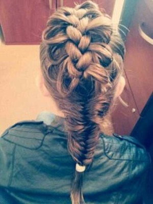 Caged bird braid ending with a fish tail;)