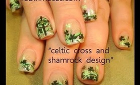 st. patricks day irish cross and shamrock design: robin moses nail art tutorial