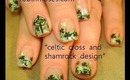 st. patricks day irish cross and shamrock design: robin moses nail art tutorial