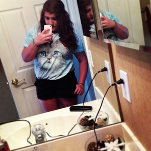 Cat shirt: Urban Outfitters  Shorts: Macy's  Hair: curled