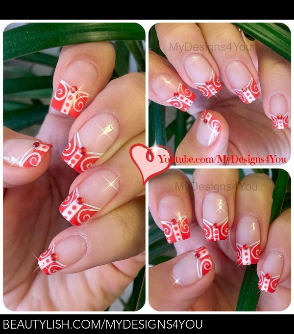 Red Nails White And Red French Tip Nail Art Liudmila Zs