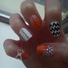 Orange/White Nails With 3D Nail Art