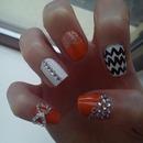Orange/White Nails With 3D Nail Art