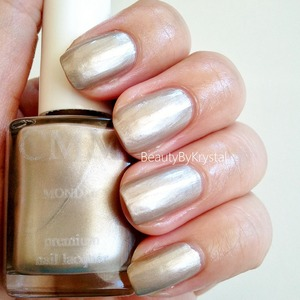 Color Me Monthly is a $7/mon subscription, get 1 bottle per month. May's shade is named Monday; a metallic champagne (seen as 1 coat) http://www.beautybykrystal.com/2013/05/color-me-monthly-may-monday.html