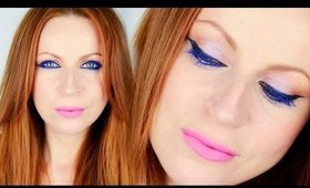 Cobalt Blue Eyes with Pink-Lavender Lips