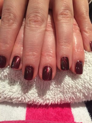 Red Carpet Manicure, Autumn Nail Art, Red & Gold, Gel Nails