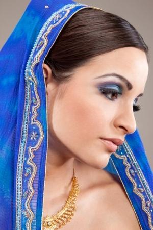 Indian bridal look, colorful eyeshadow, nude lip, bridal accessory