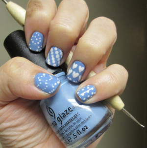 China Glaze Electric Beat and Avon French Tip White
