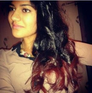 Black and red hair dip dyed.